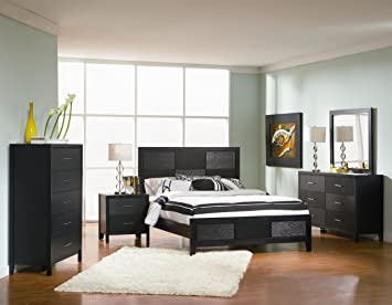 Superior 4pc Queen Size Bedroom Set With Wood Grain In Black Finish