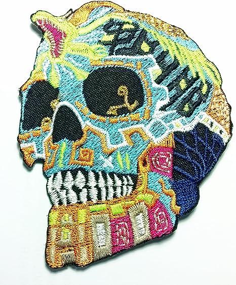 Tribal azúcar serpiente Calavera Día de los muertos Big parches hierro bordado/coser en parche de tela, chaqueta ...