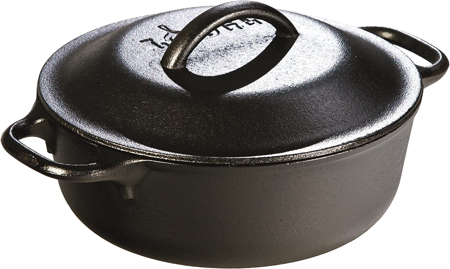 Lodge 2 Quart Cast Iron Dutch Oven. Pre-seasoned Pot with Lid for Cooking, Basting, or Baking (Renewed)