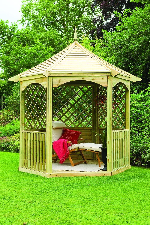 Color Gazebo Hexagonal 9 x 8 de madera tratada a presión: Amazon ...