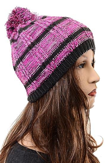 Amazon.com  Striped Pink Blue Design Fashion Unisex Pom Knit Winter ... 317eb218251