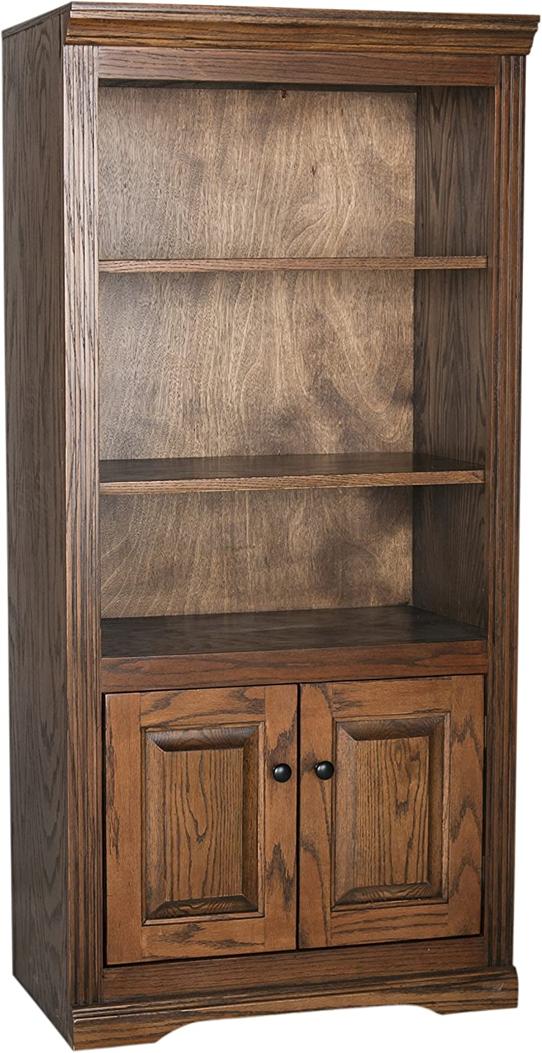 "Eagle Oak Ridge Open Bookcase with Doors 60"" Concord Cherry Finish"