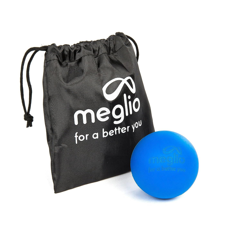 Meglio Lacrosse-Ball (6cm) – Massageball für Selbstmassagen und myofasziale Lösetechniken – Tiefengewebe Massagen durch Triggerpunkt Massagen – Tragetasche inbegriffen