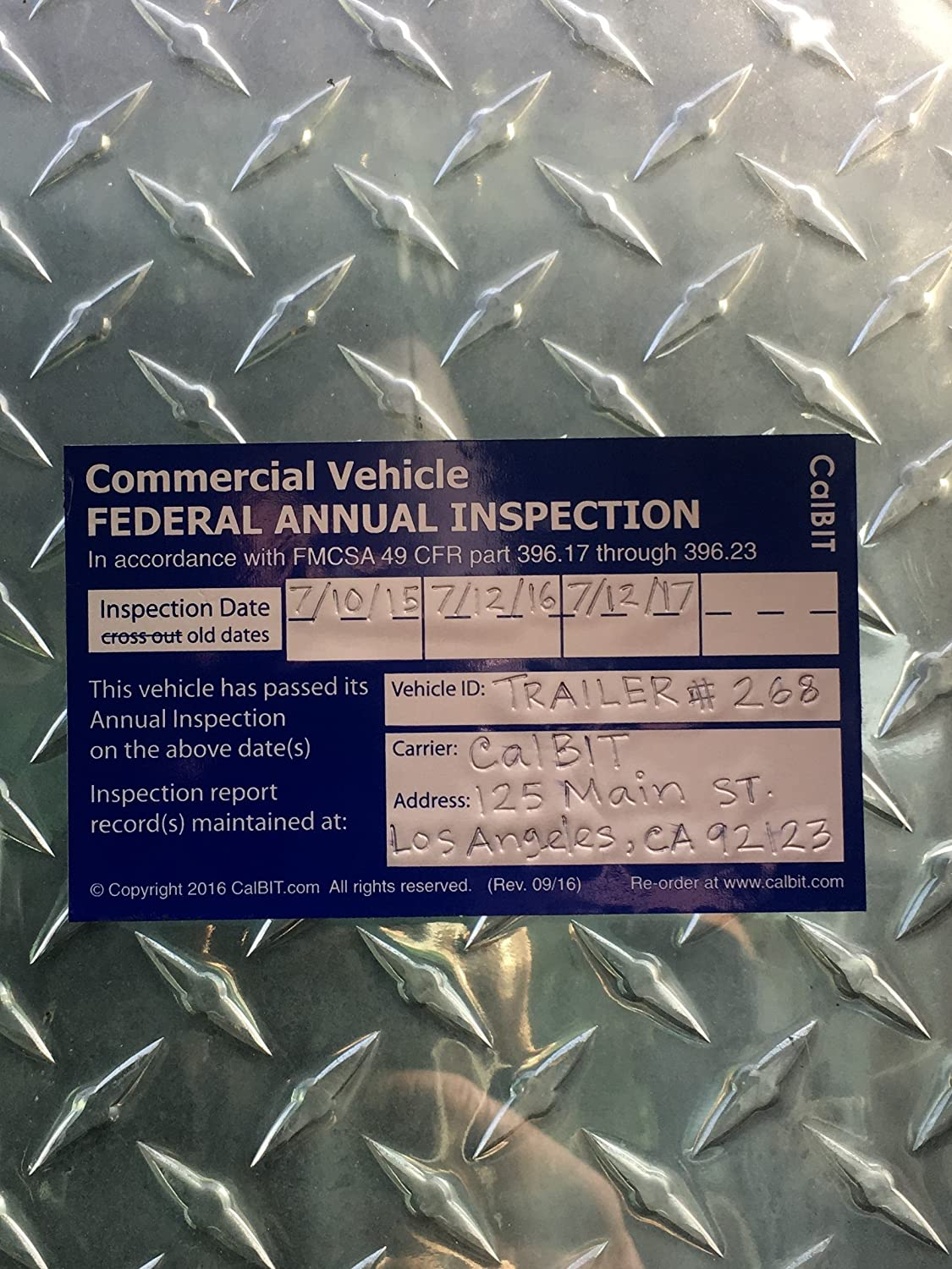 Amazon Com Federal Annual Dot Inspection Label Decal