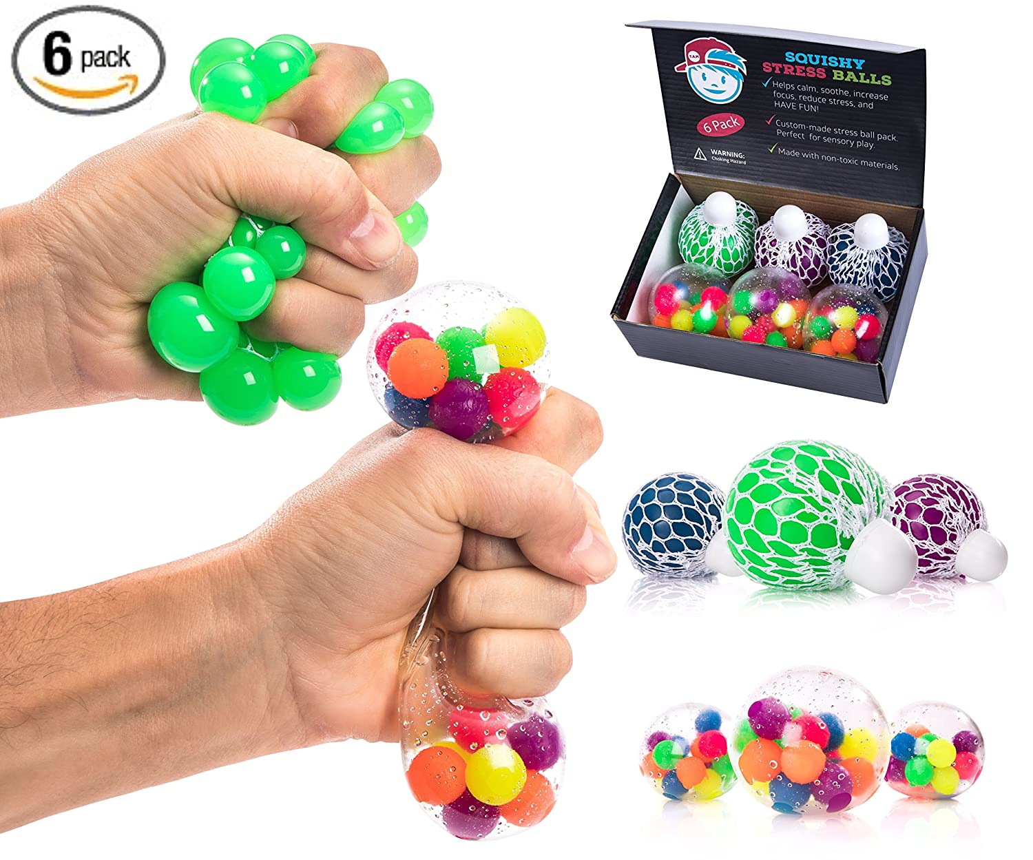 The Adventurous Mind Sensory Toys STRESS BALLS FOR KIDS PACK OF 6 [3 Mesh Stress Ball + 3 Bead Balls] Tactile Sensory Squishy Stress Balls for Anxiety Autism & ADHD - Best Stress Ball & Squeeze Toys for Calming Therapy Tools in School