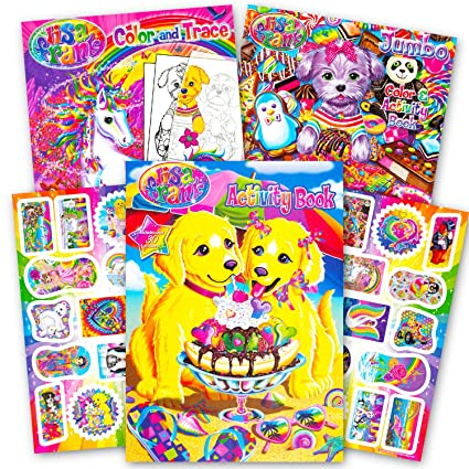 Amazon Com Lisa Frank Coloring Book And Stickers Super Set 3 Books