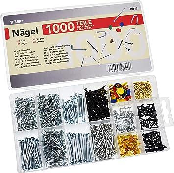1000 clavos y puntas en un pack, 14 tamaños y tipos diferentes en una caja organizadora: Amazon.es: Bricolaje y herramientas