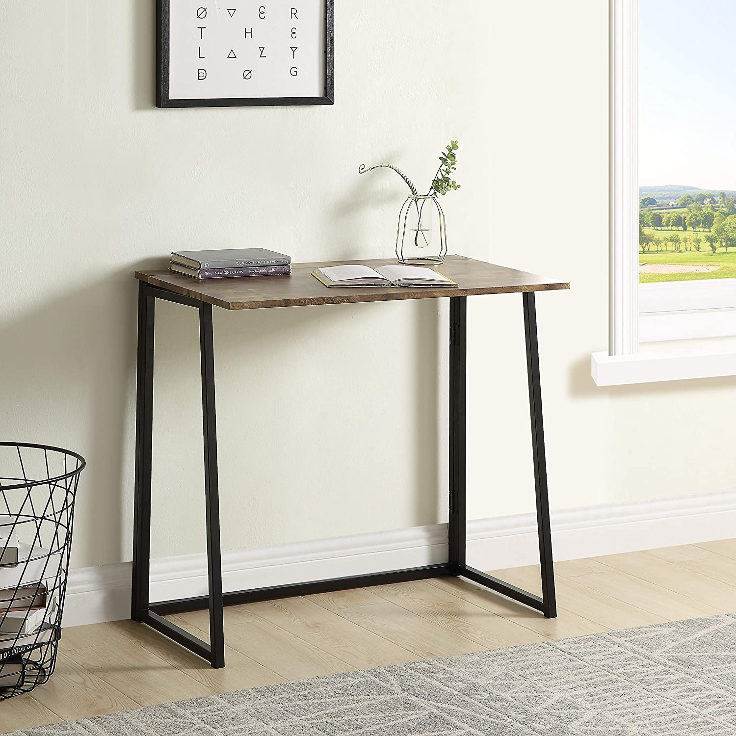 Merax Industrial Style Folding Laptop Table Space Offices,No-Assembly Small Computer Desk, 31.5