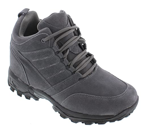 H0032-4 inches Taller - height Increasing Elevator Shoes - Grey Lace-up Hiking Boots