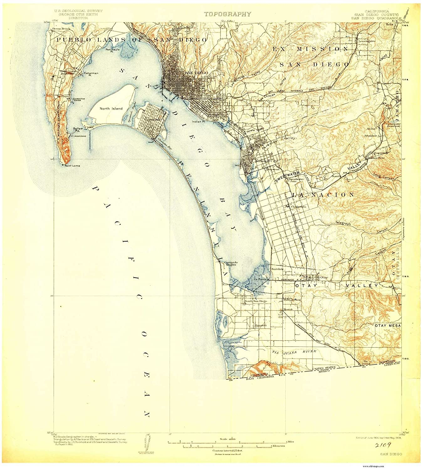 Amazon Com San Diego 1904 Old Topo Map Edited Reprint Of The