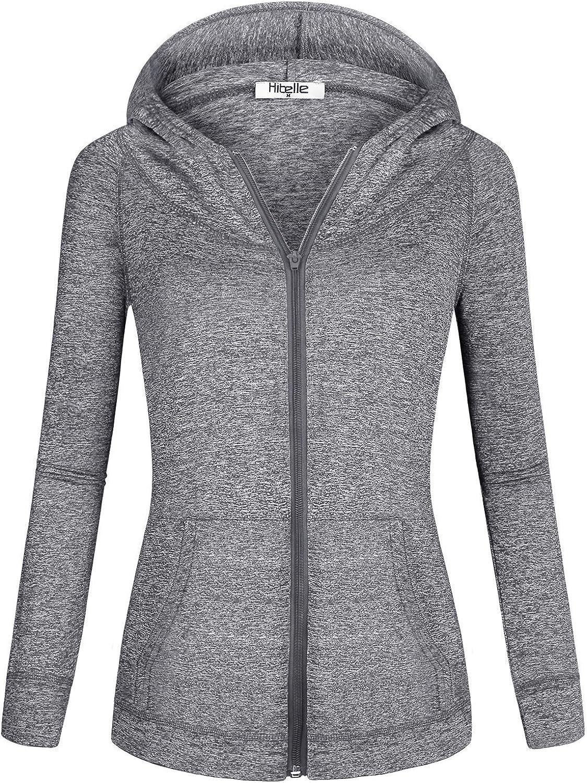 Hibelle Women's Long Sleeve Zip-up Thin Sports Hoodie Sweatshirts with Pockets