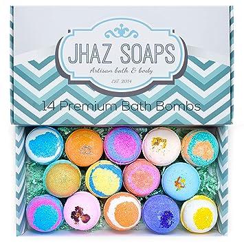 Amazon.com : 14 Bath Bombs by Jhaz Soaps: Bubble Bath, Lush Bath ...