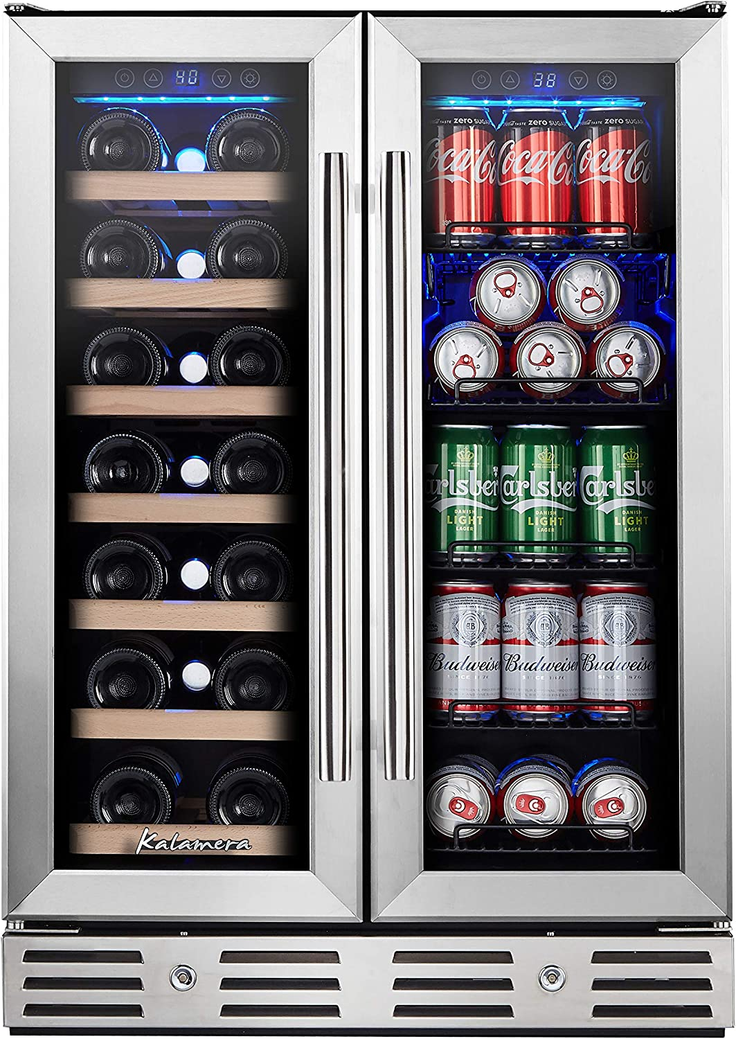 Amazon Com Kalamera 24 Beverage And Wine Cooler Dual Zone Built In And Freestanding With Stainless Steel Door Beer Wine Soda And Drink Appliances