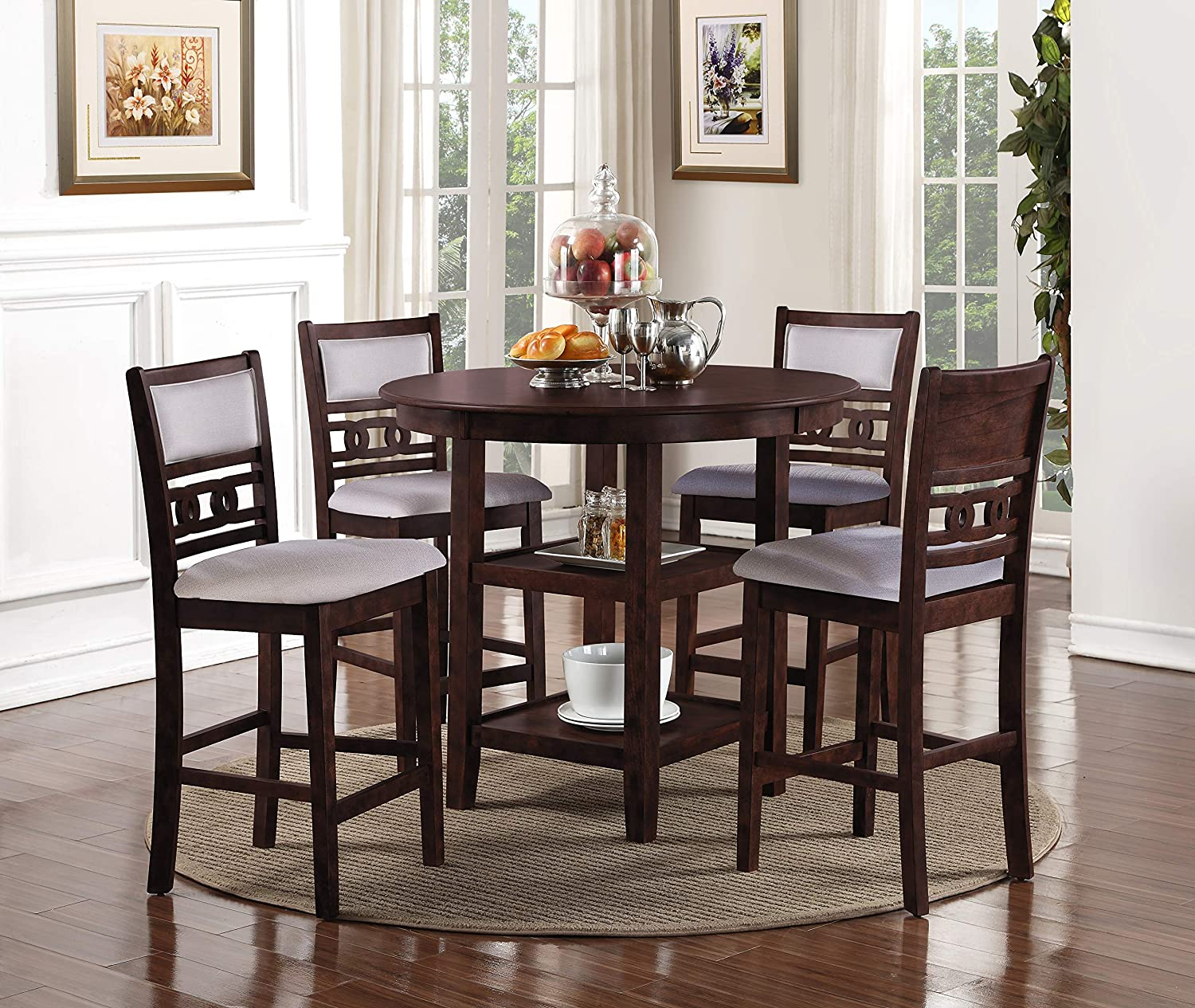 New Classic Furniture D1701-52S-CHY Gia Counter Dining Set, Cherry