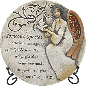 Sympathy Bereavement Gift Set - Remembrance Memorial Garden Stepping Stone Plaque for Loss of Loved Ones and Easel Display - Someone Special Message with Angel, Cardinal Birds, with 3 Exclusive Poems