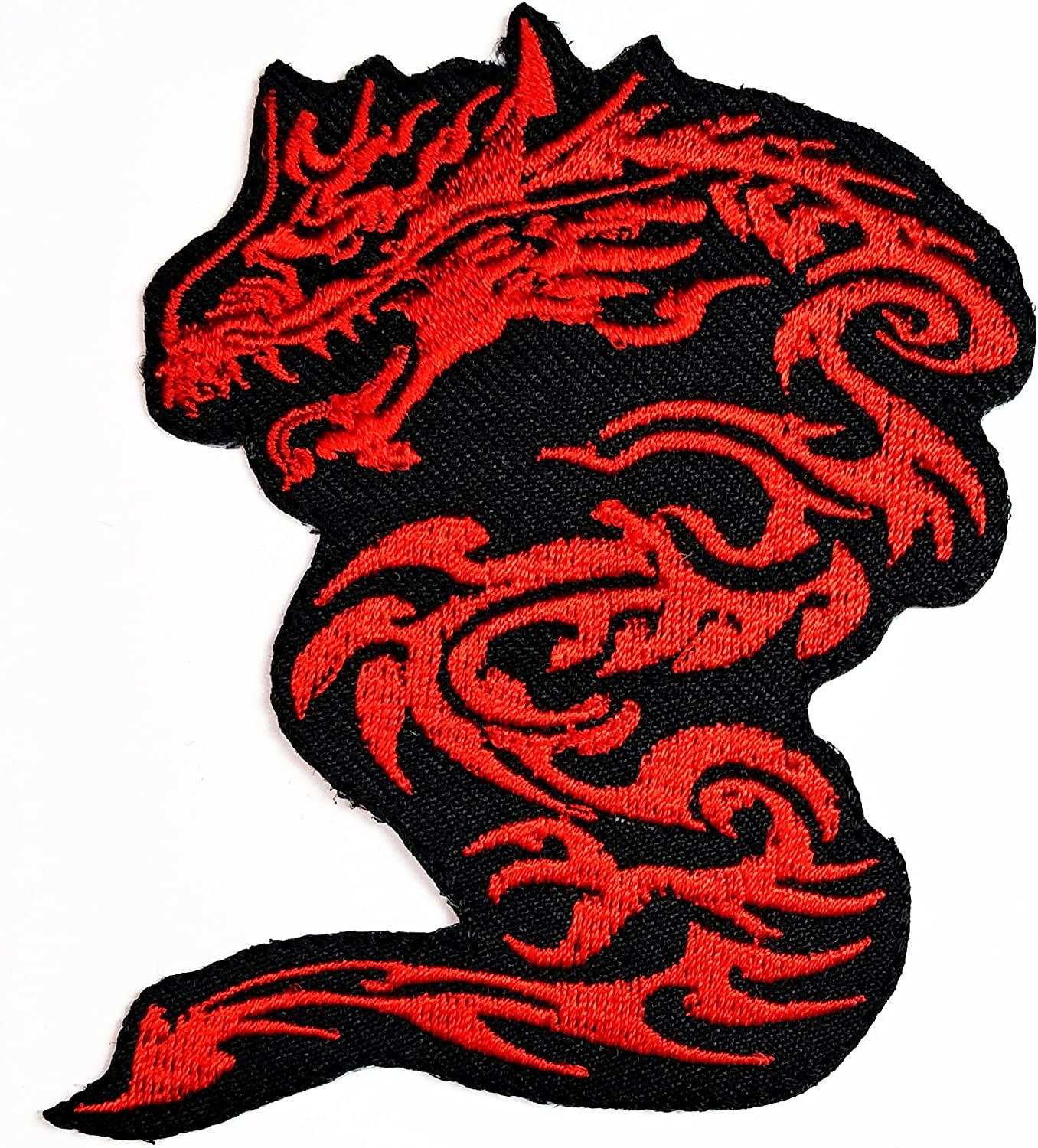 HHO Red Chinese Dragon Kung Fu Martial Arts Logo Patch Embroidered DIY Patches, Cute Applique Sew Iron on Kids Craft Patch for Bags Jackets Jeans Clothes