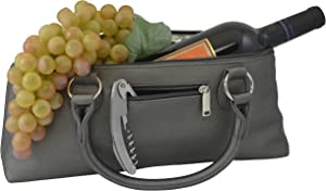 Primeware Wine Clutch Bag (Thermal Insulated) Trendy Women's Carry Tote   Holds Red & White 750mL Bottles   Trendy Fashion   Incl. Portable Waiter-Style Corkscrew