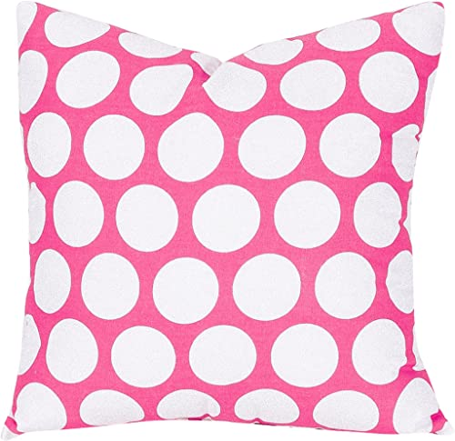 Majestic Home Goods Hot Pink Large Polka Dot Indoor Large Pillow 20 L x 8 W x 20 H
