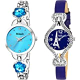 Mikado Blue Stone and Blue Paris Analog Watches Combo for Women and Girls