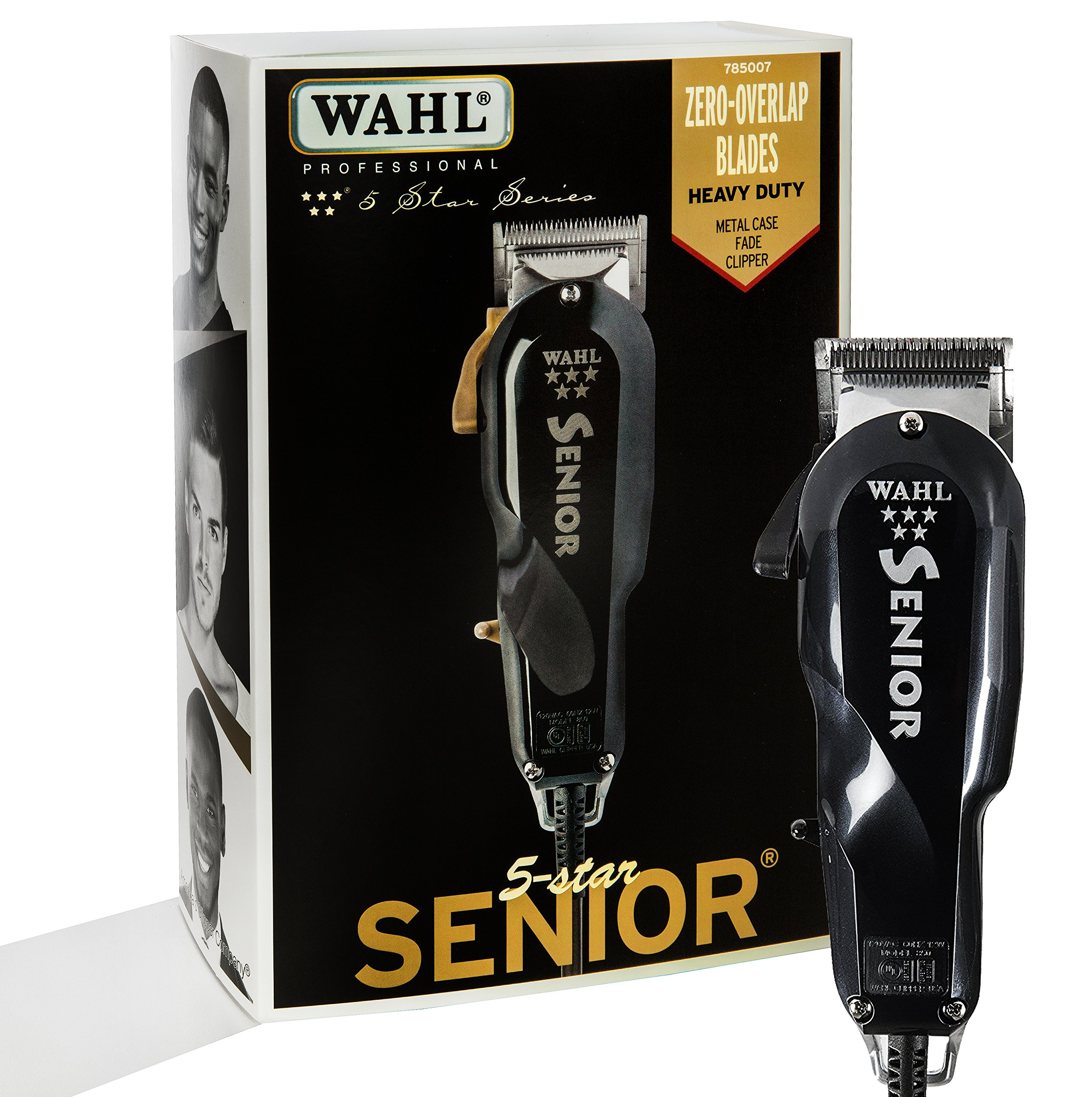 Wahl Professional 5 Star Series Senior Clipper #8545 – Great for Professional Stylists and Barbers – V9000 Electromagnetic Motor – Black -Aluminum metal bottom housing