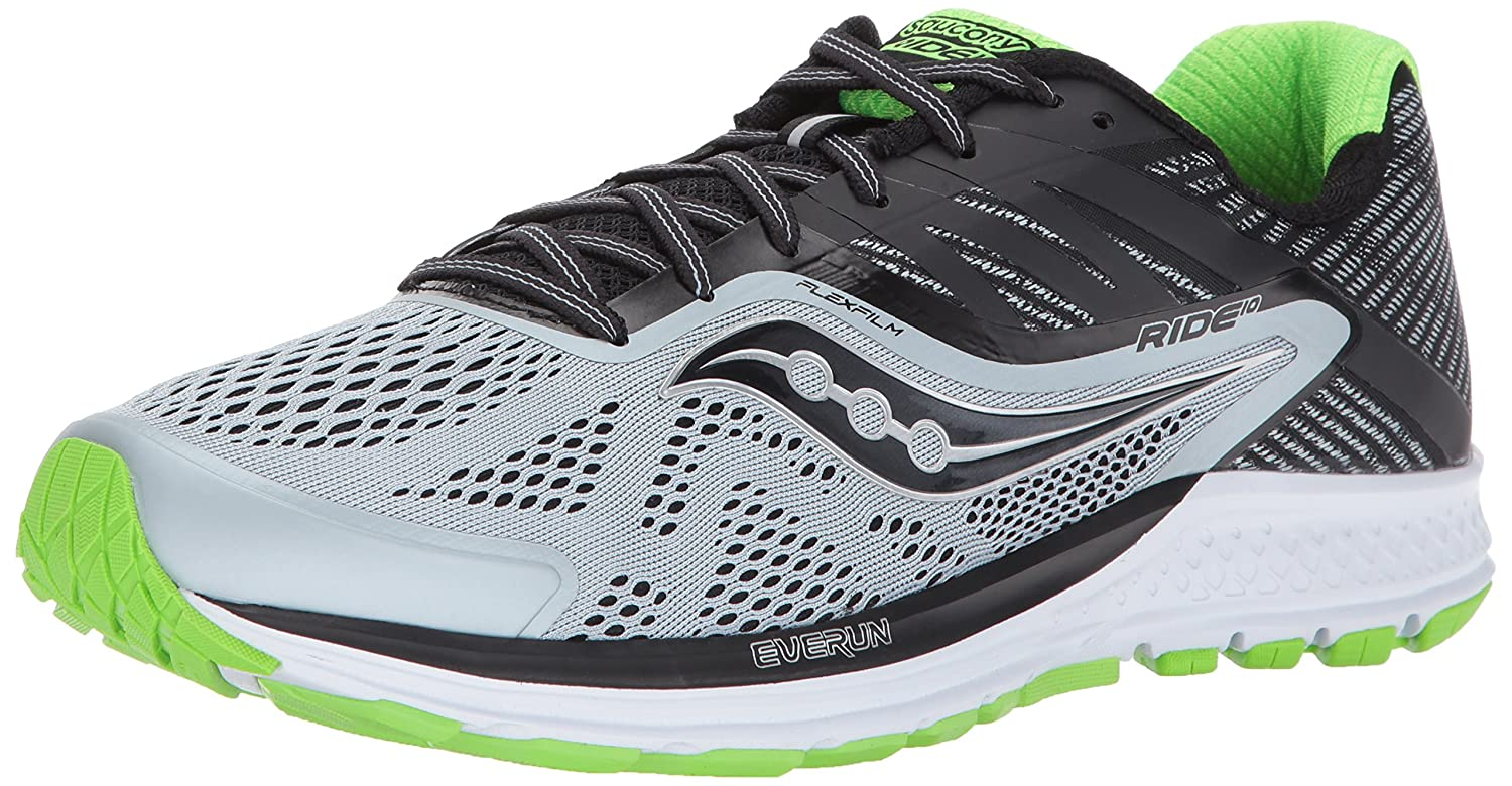 Saucony Men's Ride 10 Running-Shoes B01MT1P36U 11.5 W US|Grey Black
