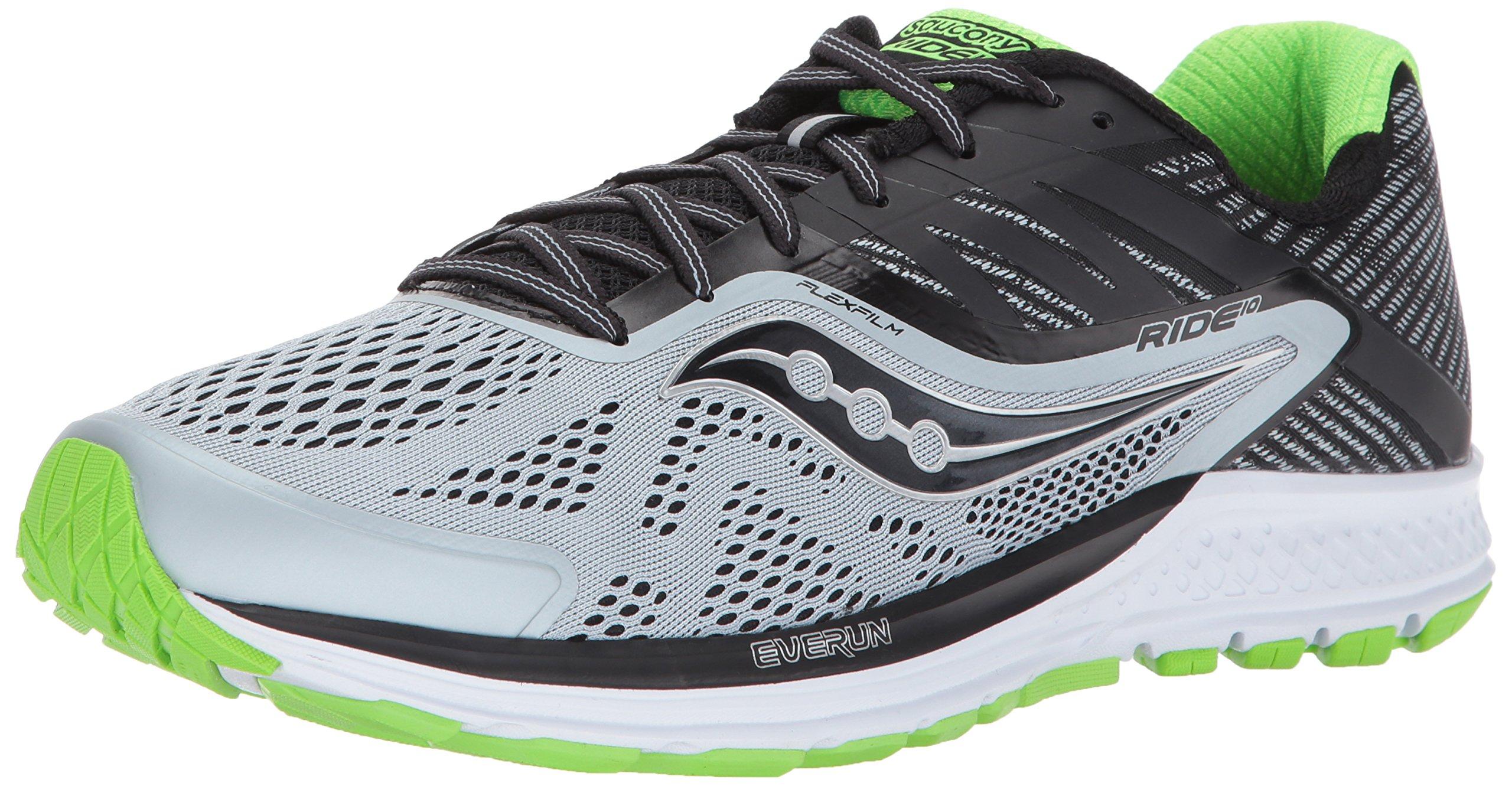 Saucony Men's Ride 10 Running Shoe Grey Black Green 12 M US