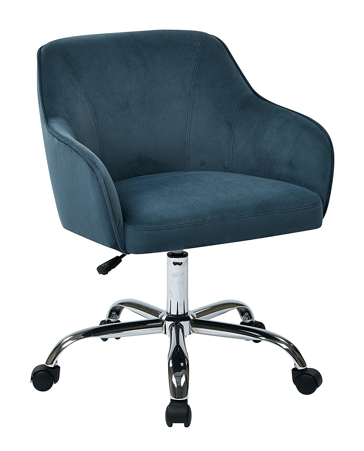 AVE SIX Bristol Chrome Base Upholstered Task Chair, Atlantic Blue Velvet