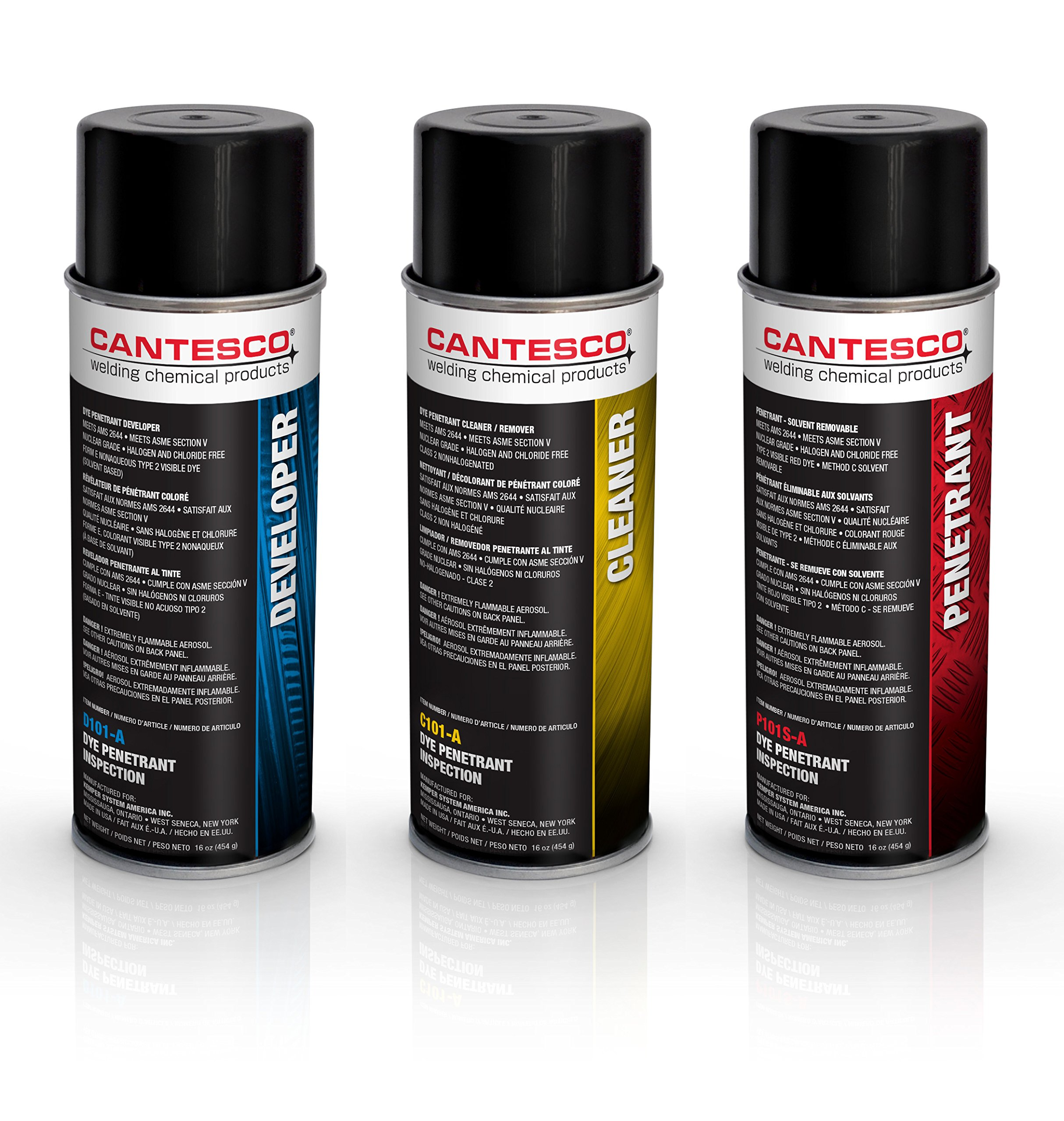 CANTESCO K801S Dye Penetrant Kit, Solvent Removable, 8 Can Kit