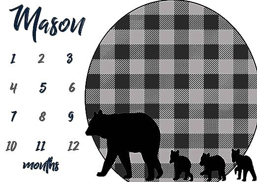 amazon com personalized boys milestone blanket gray blue buffalo