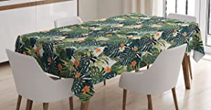 """Ambesonne Green Tablecloth, Hawaiian Summer Aloha Pattern with Tropical Plants and Hibiscus Flowers, Dining Room Kitchen Rectangular Table Cover, 52"""" X 70"""", Teal Orange"""