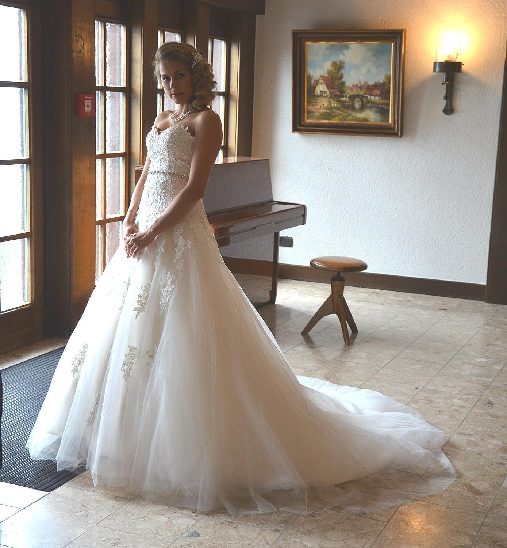 Unbekannt NEU Brautkleid Schleppe Hochzeitskleid Gr. 16-16 Spitze Braut  Kleid Hochzeit