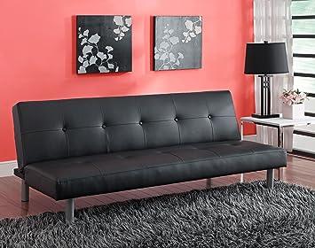 dhp nola tufted futon   black faux leather upholstery amazon    dhp nola tufted futon   black faux leather upholstery      rh   amazon