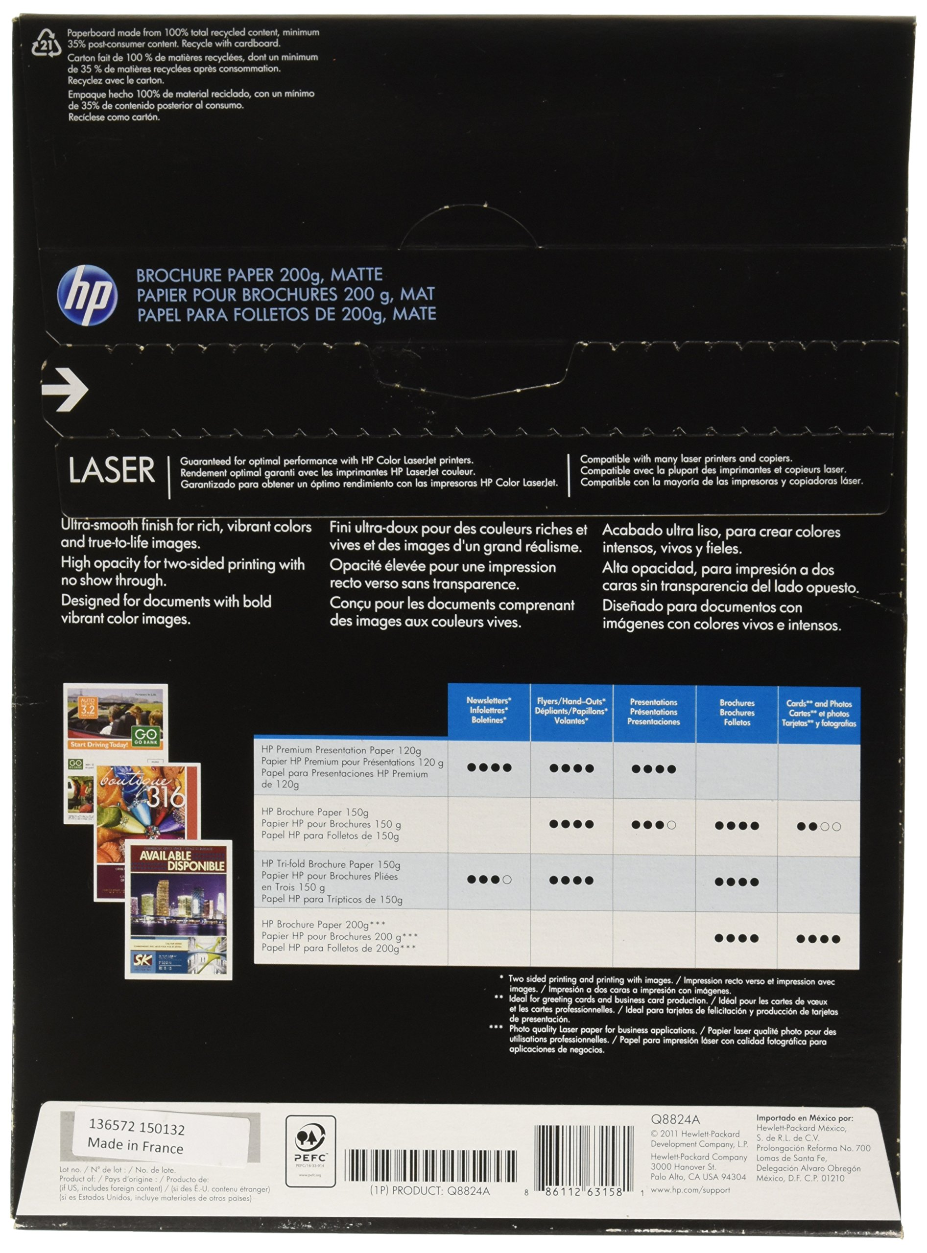 HP Q8824A Brochure Paper for Laser Printer, Matte, 8.5x11, 100 Sheets by HP (Image #1)