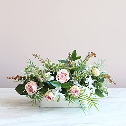 Amazon Meda Blooms Mixed Silk Rose And Greenery Flower