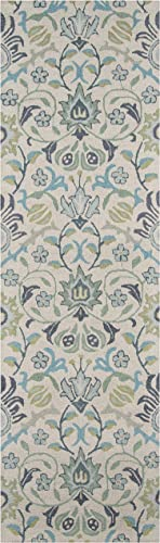 Momeni Rugs Newport Collection, 100 Wool Hand Tufted Loop Cut Contemporary Area Rug, 2 3 x 8 3 Runner, Blue