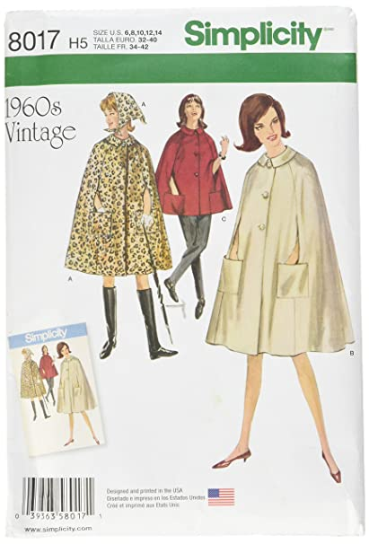 simplicity patterns misses' vintage 1960's cape in two lengths size: h5 (6-