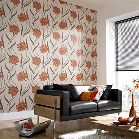 Super Fresco Poppy Retro Floral Burnt Orange Cream Wallpaper