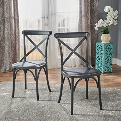 Christopher Knight Home Shiff Farmhouse Plastic Nylon Dining Chairs, Set of  2 (Classic Black)