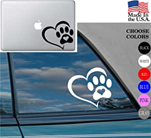 """heart lover Dog Cat Love Pet PAW Vinyl Decal Sticker - Car Window, Laptop, Wall, Mac (5.5"""" inches, White)"""