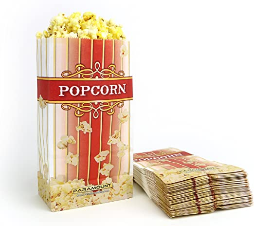 100 Popcorn Serving Bags - Large Standalone Flat Bottom Paper Bag Style