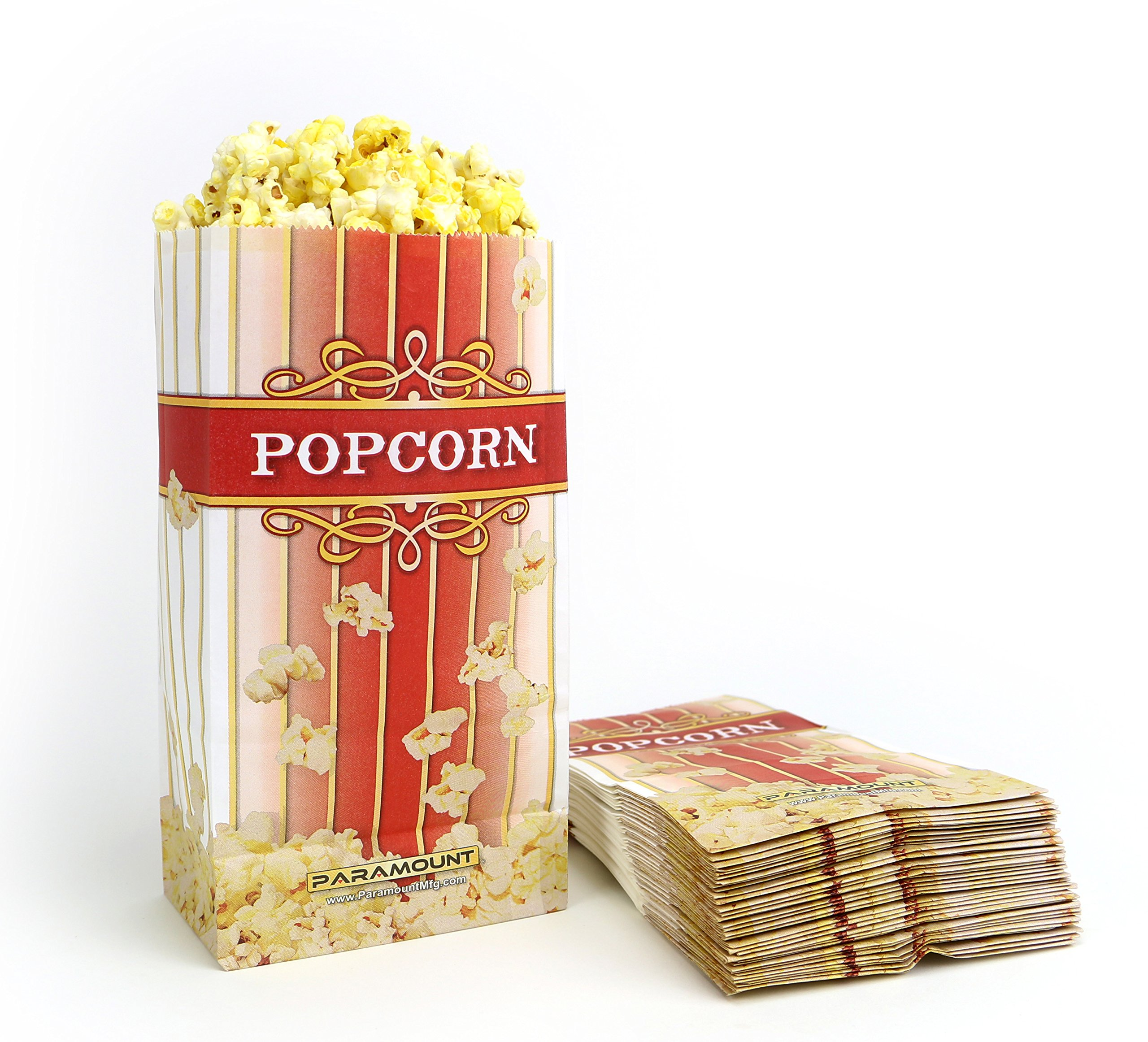 100 Popcorn Serving Bags - 'Large' Standalone Flat Bottom Paper Bag Style by Paramount