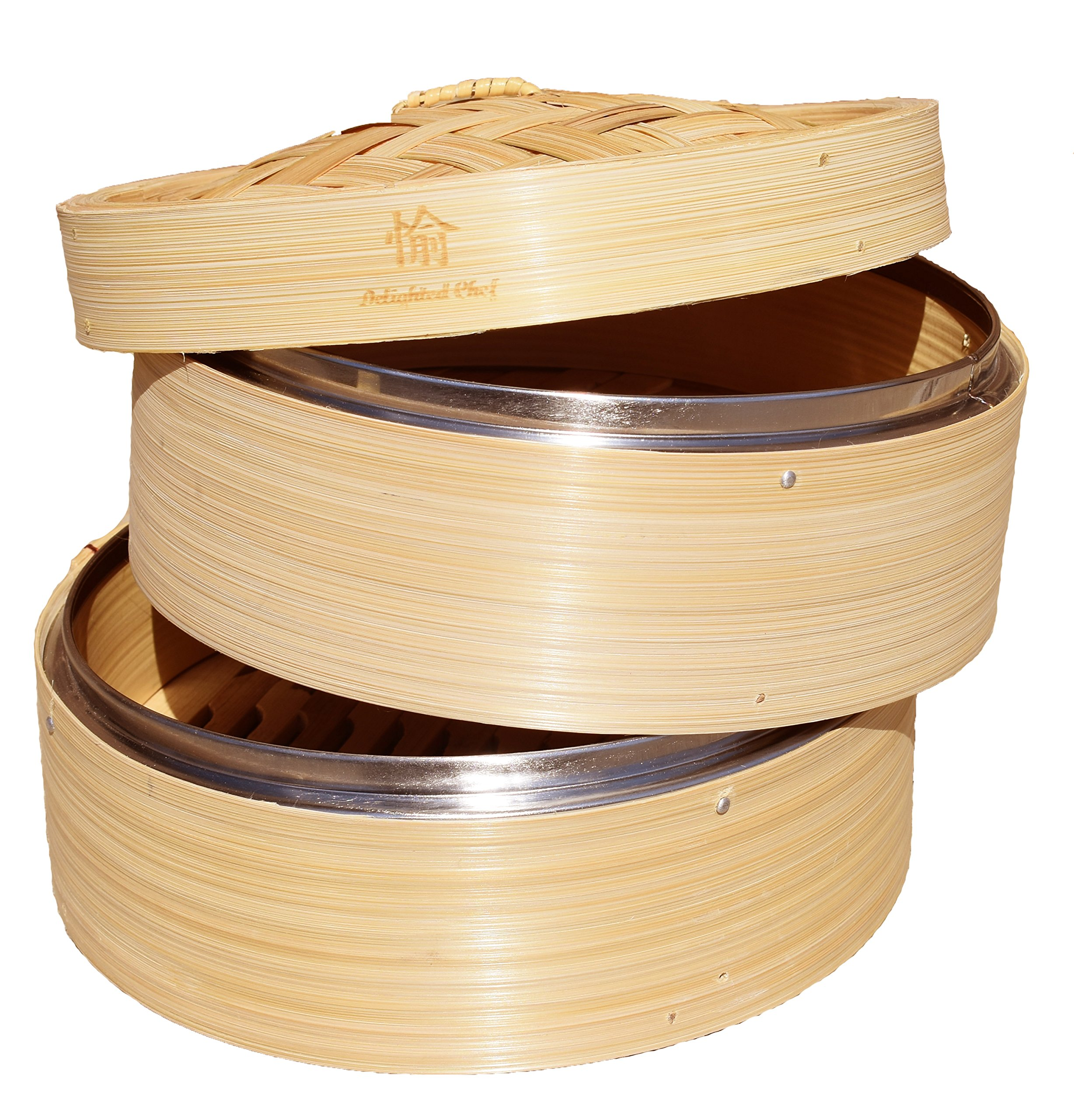 UPDATED MODEL FOR 2018! NEW AMAZINGLY DURABLE *8 Inch* Bamboo Steamer w/ Stainless Steel Rim/Lightweight Food/Bamboo Basket Fits Standard Size Pots/Asian Food Steamer/Free Storage Bag