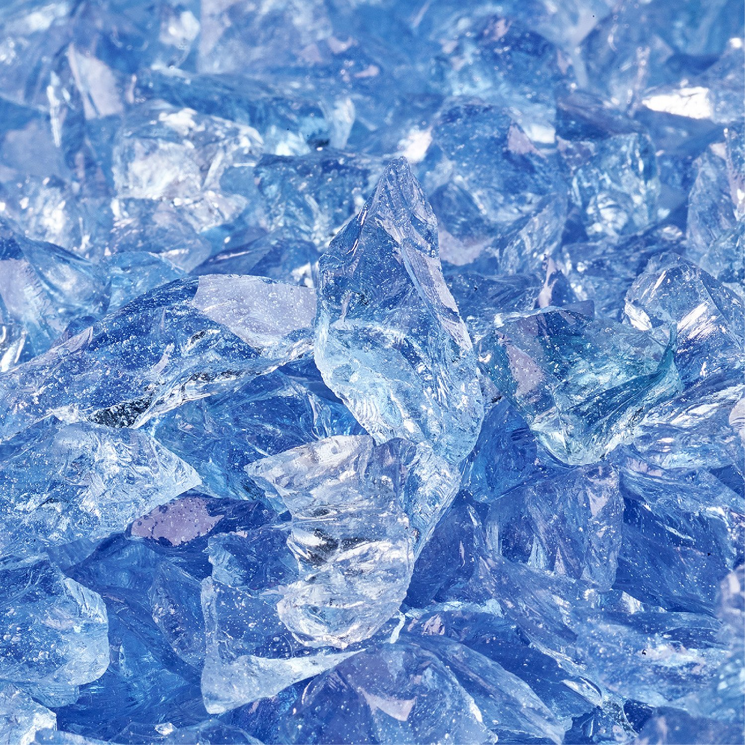 Blue Fire Glass for Indoor and Outdoor Fire Pits or Fireplaces | 10 Pounds | Bermuda Blue Fire Glass Cubes, 1 Inch Fire Pit Essentials