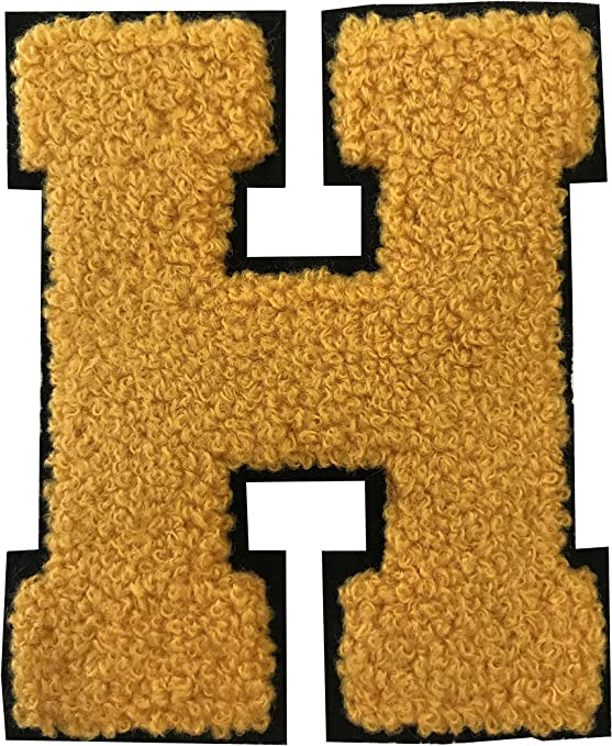 """2.5/"""" Royal White on Black Chenille Alphabet PATCH ready for Iron-on"""