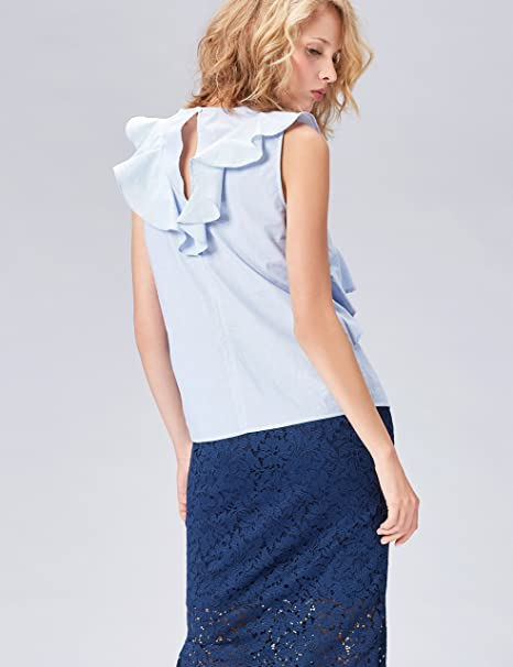 FIND Top Casual de Rayas con Volantes para Mujer , Multicolor (White/Blue), 40 (Talla del Fabricante: Medium): Amazon.es: Ropa y accesorios