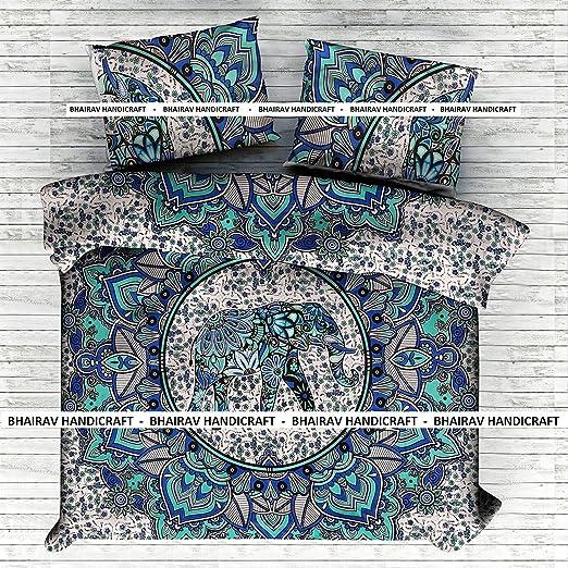 Indian Elephant Mandala Hippie Duvet Cover Blanket Ethnic Comforter Quilt Cover