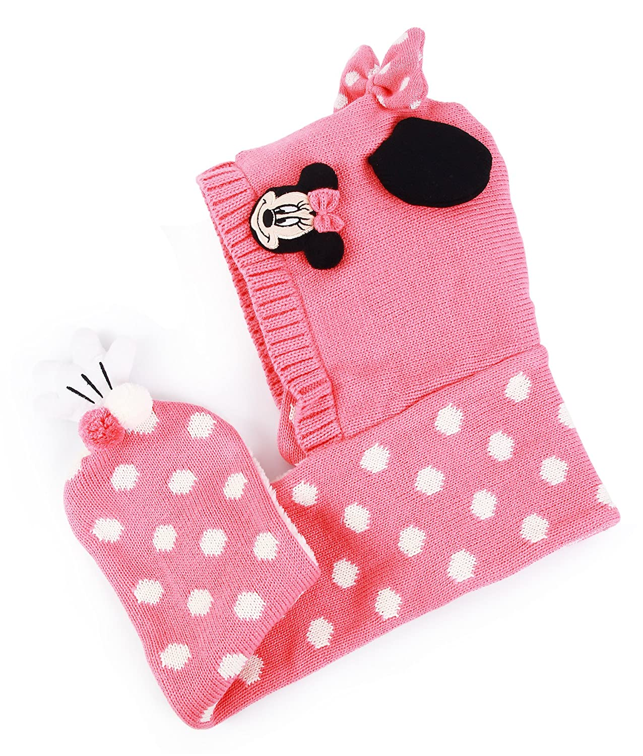 Disney Minnie Mouse Finger Hood Warmer Knitted Long Scarves Shawl for Girls (Pink)