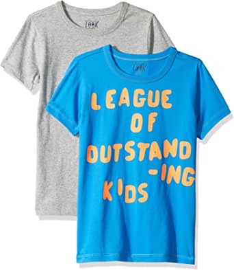 LOOK by crewcuts Camiseta de manga corta para niño, estampado/liso (2 unidades)