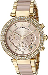 7cf2a3803b86 Michael Kors Womens Parker Blush Acetate and Goldtone Chronograph Watch