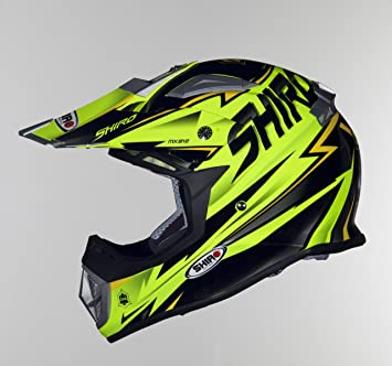 Casco Off-Road Shiro mx-912 Thunder Amarillo Flúor Talla L